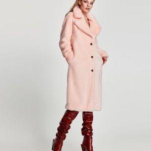 Zara pink fur coat